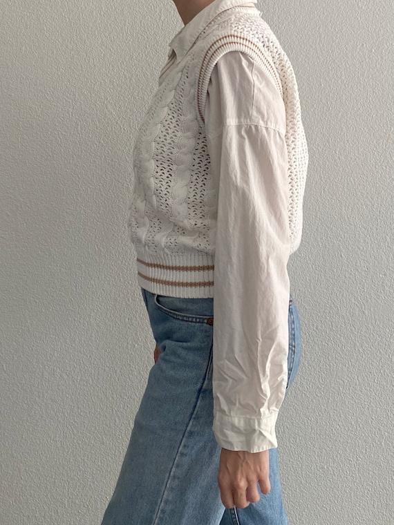 Vintage Knit Sweater Vest White Crochet Sleeveles… - image 5