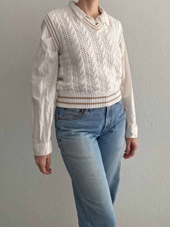 Vintage Knit Sweater Vest White Crochet Sleeveles… - image 2