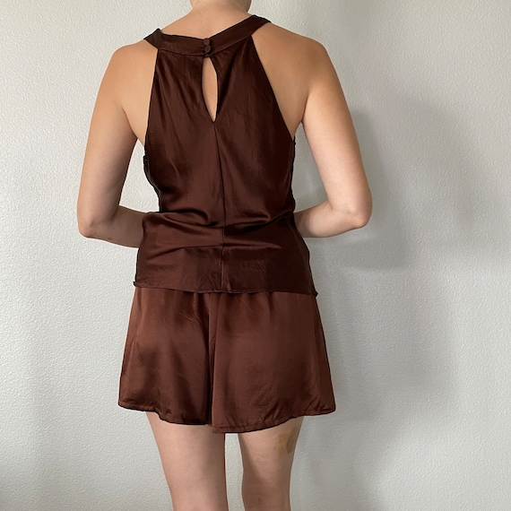 Victoria's Secret Brown 100% Silk Pajama Shorts a… - image 4