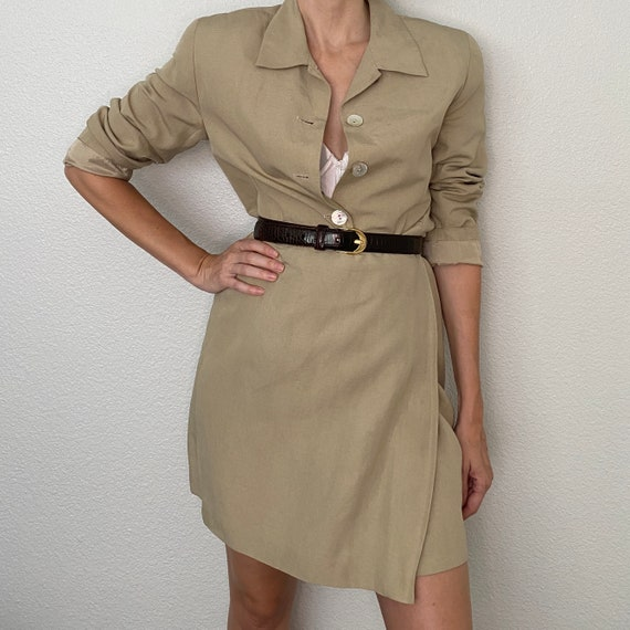 Vintage Linen Silk Blend Wrap Skirt Suit Tan Two P