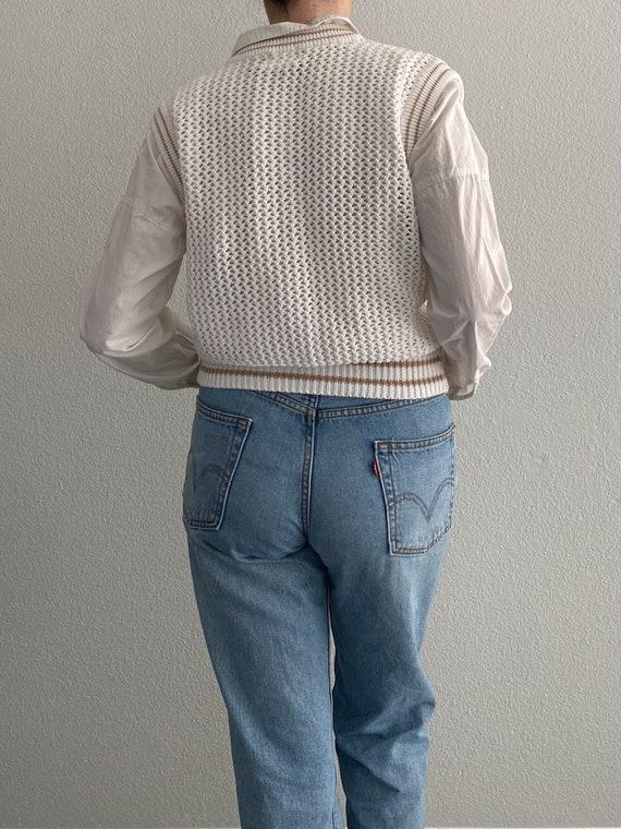 Vintage Knit Sweater Vest White Crochet Sleeveles… - image 6