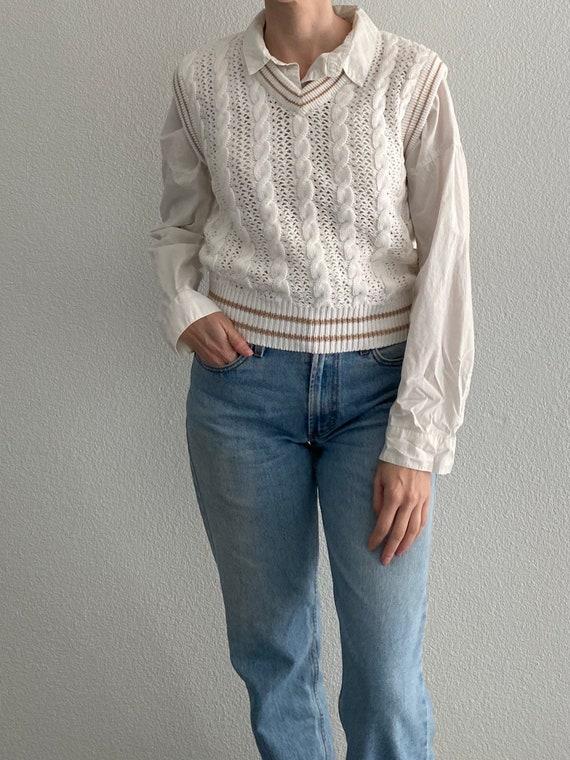 Vintage Knit Sweater Vest White Crochet Sleeveles… - image 3