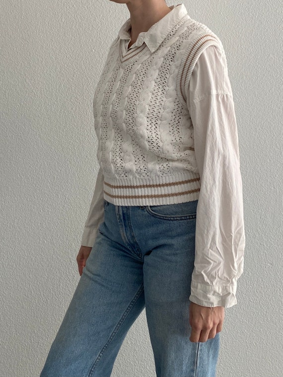 Vintage Knit Sweater Vest White Crochet Sleeveles… - image 4