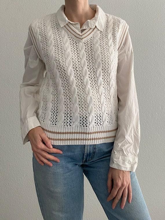 Vintage Knit Sweater Vest White Crochet Sleeveles… - image 7