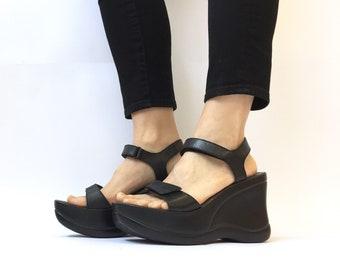 333959fef8e 90s chunky industrial platform black sandals size 10   euro wedge platform  punk goth sandals made in brazil   health goth club kid grunge