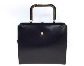 f2c6bf6f3ebb Vintage 1950s AMITY Brand Top Handle Calfskin Leather Purse Top Handle  Pocket Book   Vintage Wedding Purse  1950s Handbag Blue Black Leather