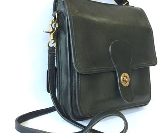 82a6008b2a8 Rare Vintage Coach  Station  Crossbody Bag in Forest Green   Willis Messenger  Bag   1990s Coach Purse Made in USA NYC
