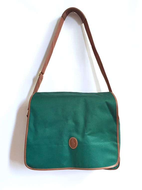 Vintag 90s Ralph Lauren Green Canvas and Brown Messenger  05c9e29291d66