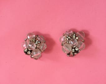 Vintage Old Hollywood Rhinestone and Beaded Cluster Clip On Earrings