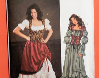 Butterick 3906 Serving wench gypsy fortune teller or pirate dress costume pattern Uncut Sizes 12 14 and 16 Cosplay Medieval Renaissance  sc 1 st  Etsy & Fortune teller costume | Etsy