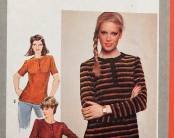 c88b0404988 Vintage stretch knit top pattern Simplicity 9634 Henley pullover top  pattern Uncut Sizes 8