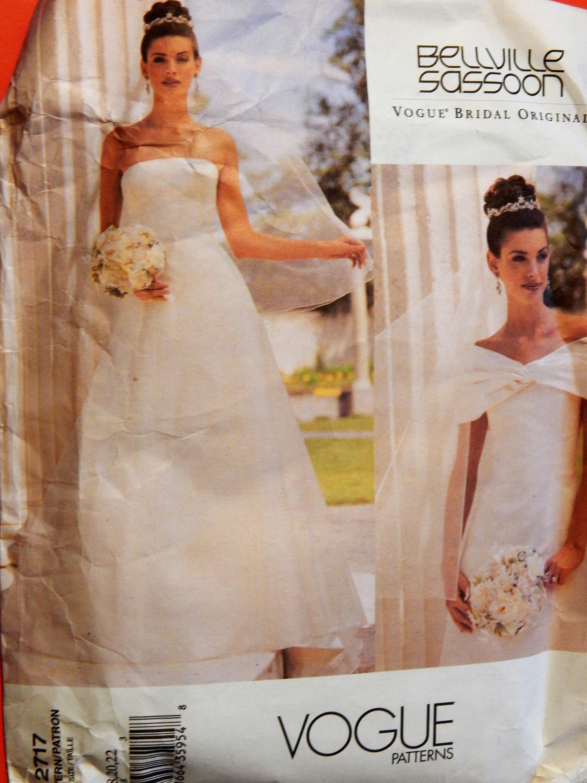 Bridal gown pattern Vogue 2717 Strapless wedding dress pattern | Etsy