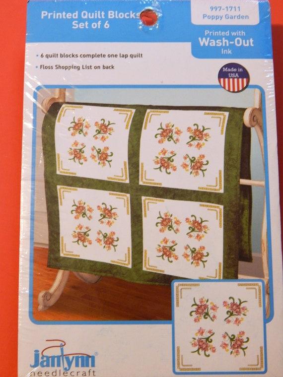 Janlynn Stamped Cross Stitch Quilt Blocks Poppy Garden Set Etsy