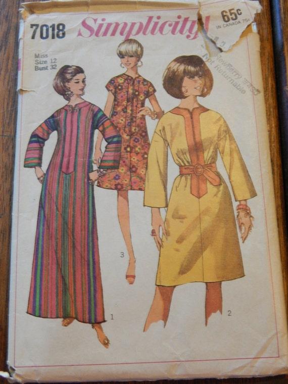 Jahrgang Kaftan Schnittmuster Simplicity 7018 1960 der Womans