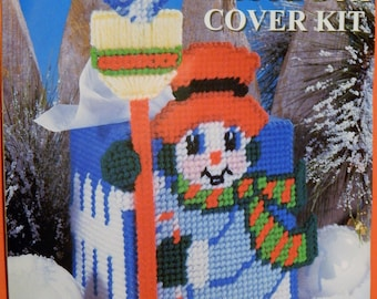 Snowman plastic canvas tissue box cover kit designed by Virginia and Michael Lamp