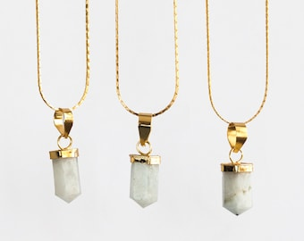 Petite Rainbow Moonstone Point Pendant Necklace / gold plated point pendant