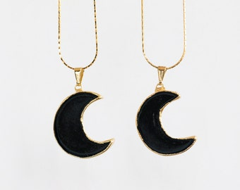 Black Tourmaline Half Moon Pendant Necklace / gold plated moon pendant