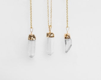 Quartz Crystal Necklace / gold plated raw quartz pendant necklace