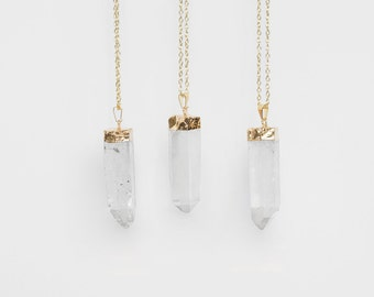 Large Quartz Crystal Necklace / gold plated raw quartz pendant necklace