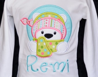 Winter Polar Bear with Hat & Scarf Applique Shirt or Bodysuit Boy or Girl