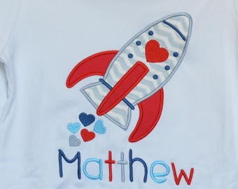 Personalized Valentine's Rocket Ship with Hearts  Applique Shirt or Bodysuit Girl or Boy