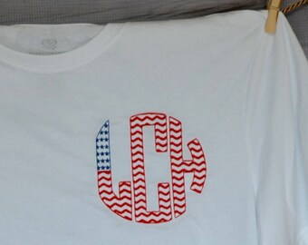 Personalized 4th of July Patriotic Flag Monogram Applique Shirt or Bodysuit Girl Boy