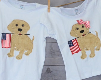 Personalized 4th of July Patriotic Dog With Flag Applique Shirt or Bodysuit Girl Boy