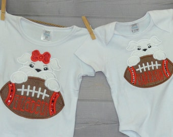 Personalized Football Bulldog Applique Shirt or bodysuit