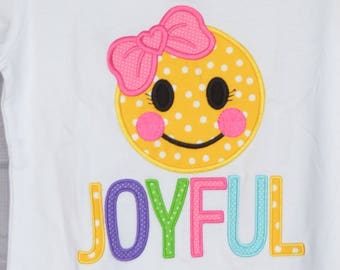 Personalized Happy Face Joyous Custom Applique Shirt or Bodysuit Boy or Girl