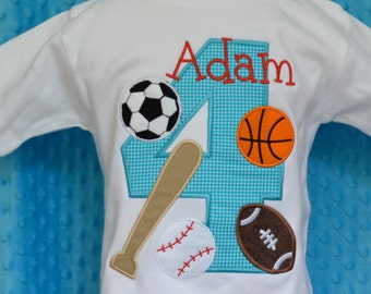 Personalized Birthday Sports Applique Shirt or Bodysuit Girl or Boy
