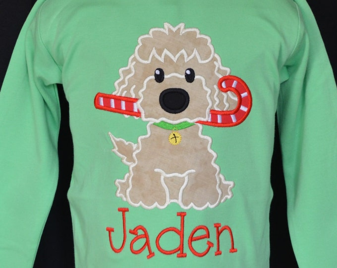 Featured listing image: Christmas Dog Candy Cane Applique Shirt or Bodysuit Boy or Girl