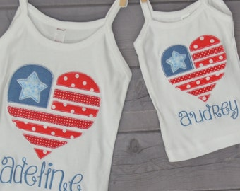 Personalized Raggedy Heart 4th of July Flag Applique Shirt or Bodysuit Boy or Girl