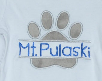 Personalized Paw Print Bulldog Wildcat Wolves Tigers Football Applique Shirt or Bodysuit