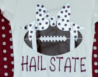 Personalized Football with Bow Heat Press Vinyl Shirt or Bodysuit for Boy or Girl Roll Tide Alabama