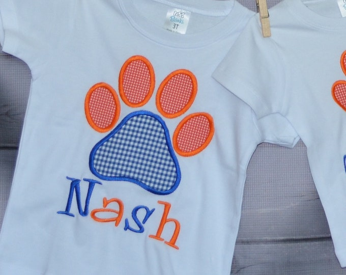 Featured listing image: Personalized Initial Football Paw Print Applique Shirt or Bodysuit