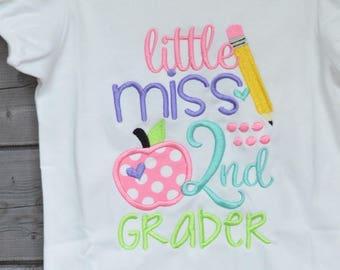 Personalized Little Miss 2nd Grader Kindergarten 1st 3rd Applique Shirt or Bodysuit Girl or Boy