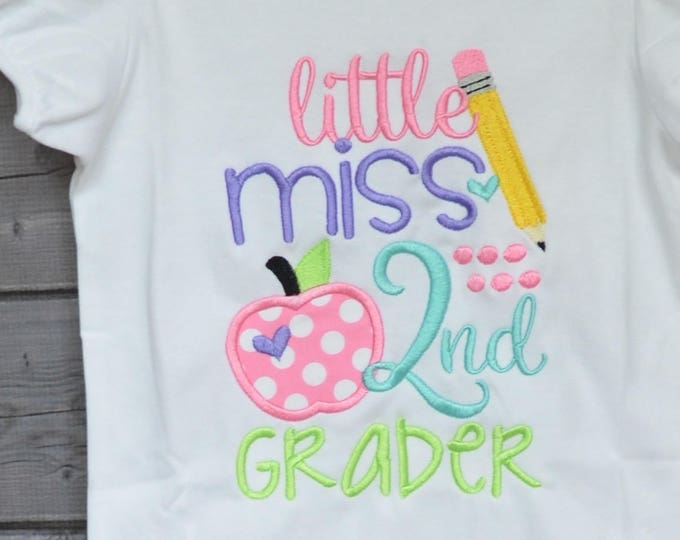 Featured listing image: Personalized Little Miss 2nd Grader Kindergarten 1st 3rd Applique Shirt or Bodysuit Girl or Boy