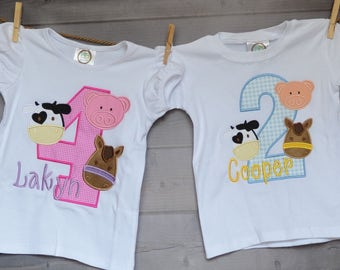 Personalized Birthday FarmTractor Cow Pig Horse Applique Shirt or Bodysuit Girl or Boy
