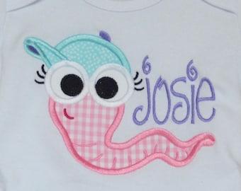 Personalized  Big Eyed Worm Snail Bug Firefly GrassHopper Patch Applique Shirt or Bodysuit Boy or Girl