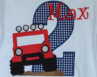 Personalized Birthday Jeep Applique Shirt or Bodysuit Girl or Boy