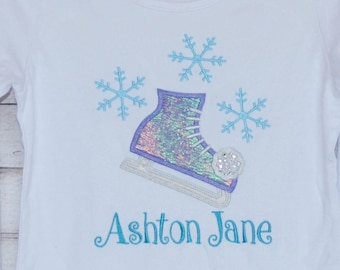 SnowFlake Ice Skate Applique Shirt or Bodysuit Boy or Girl