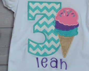 Personalized Birthday Ice Cream Cone Applique Shirt for Girl Skirts available