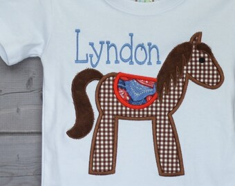 Personalized Horse Applique Shirt or Bodysuit Boy or Girl