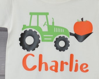 Personalized Tractor with Pumpkin Heat Press Vinyl Shirt or Bodysuit for Boy or Girl