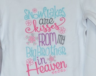 Snowflakes Are Kisses from Heaven Applique Shirt or Bodysuit Boy or Girl
