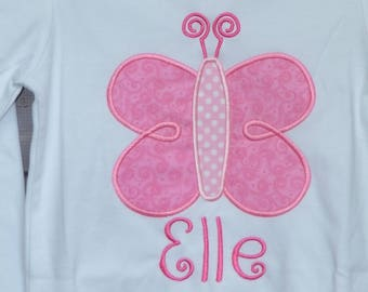 Personalized Butterfly Applique Shirt or Bodysuit Girl