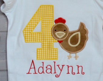 Personalized Birthday Chicken Applique Shirt or Bodysuit Girl or Boy