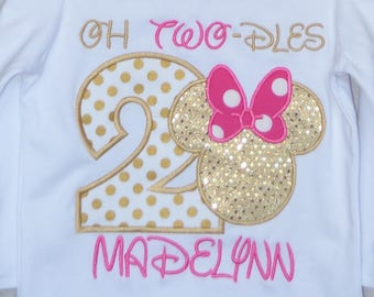 Personalized Birthday Girl Mouse Head with Big Ears and Bow TWO-DLES Applique Shirt or Bodysuit Girl or Boy