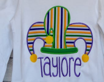 Personalized Mardi Gras Jester Hat Applique Shirt or Bodysuit Girl or Boy
