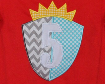 Personalized Knight's Shield and Initial or Princess Castle and Initial Applique Shirt or Bodysuit